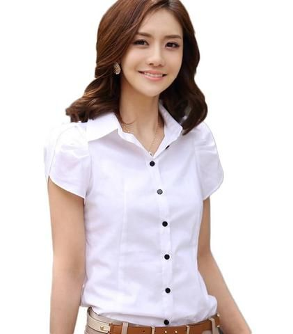 e5a2a3034d1073 2018 New Summer Elegant Blouses Shirts Women Clothing OL Office Short Sleeve  White Shirt Female Plus Size Blusas Tops
