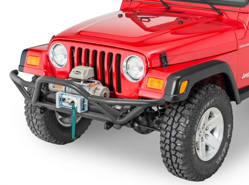 Quadratec Qrc Front Bumper With Q9000 Self Recovery Winch In Gray And Winch Plate Jeep Cj Jeep Bumpers Jeep
