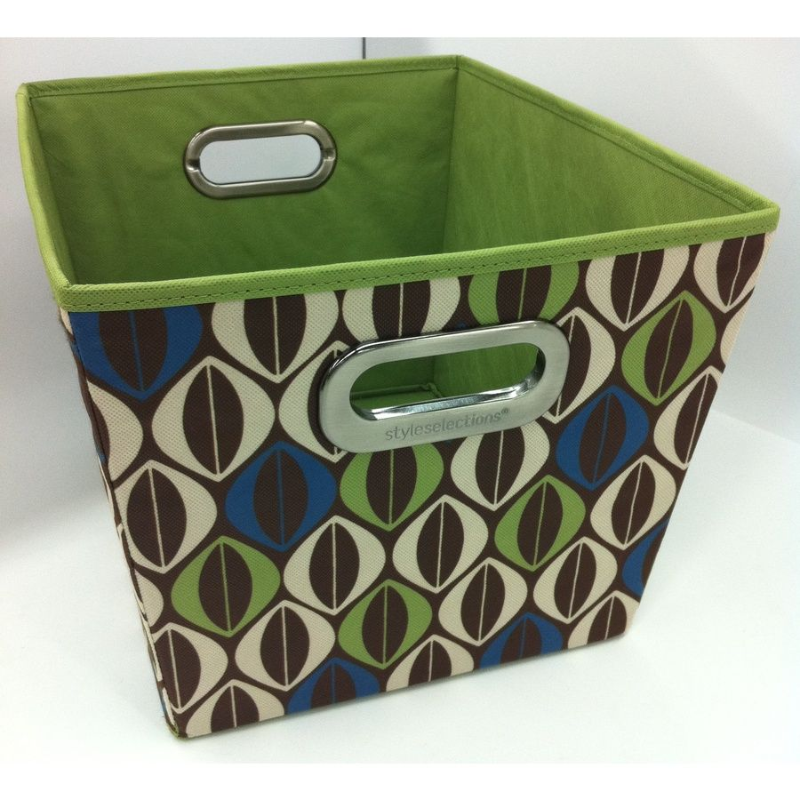Lowes Laundry Baskets Shop Style Selections 12In W X 10In H Geo Print Fabric Milk Crate