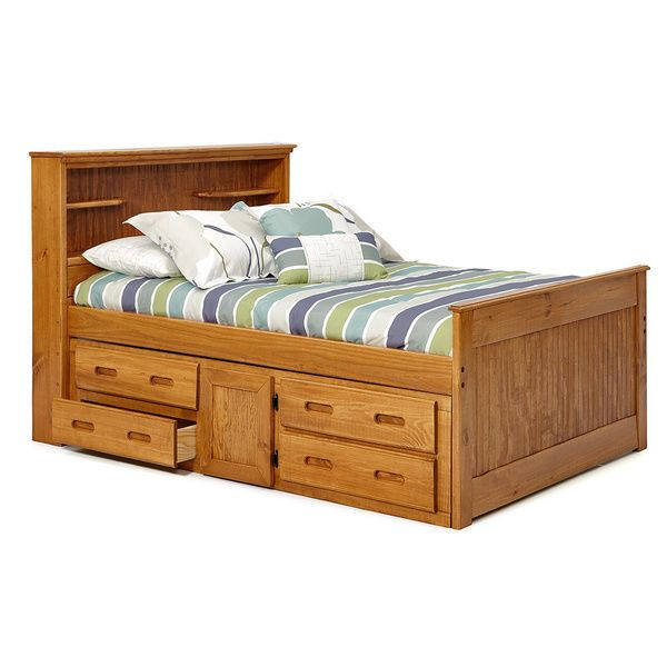 full size bed frame with storage drawers headboard footboard solid pine wood woodcrest