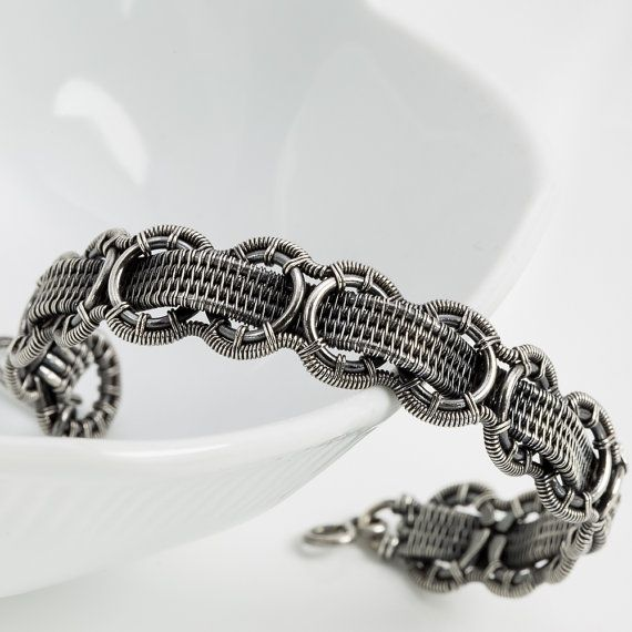 Fine Silver and Sterling Silver Bracelet- Interlace - 6-3/4 inch ...