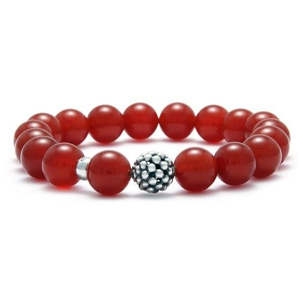 LAGOS Bead Stretch Bracelet ($150) ❤ liked on Polyvore featuring jewelry, bracelets, red agate, handcrafted beaded jewellery, handcrafted jewellery, handcrafted beaded jewelry, red bangles and beaded jewelry