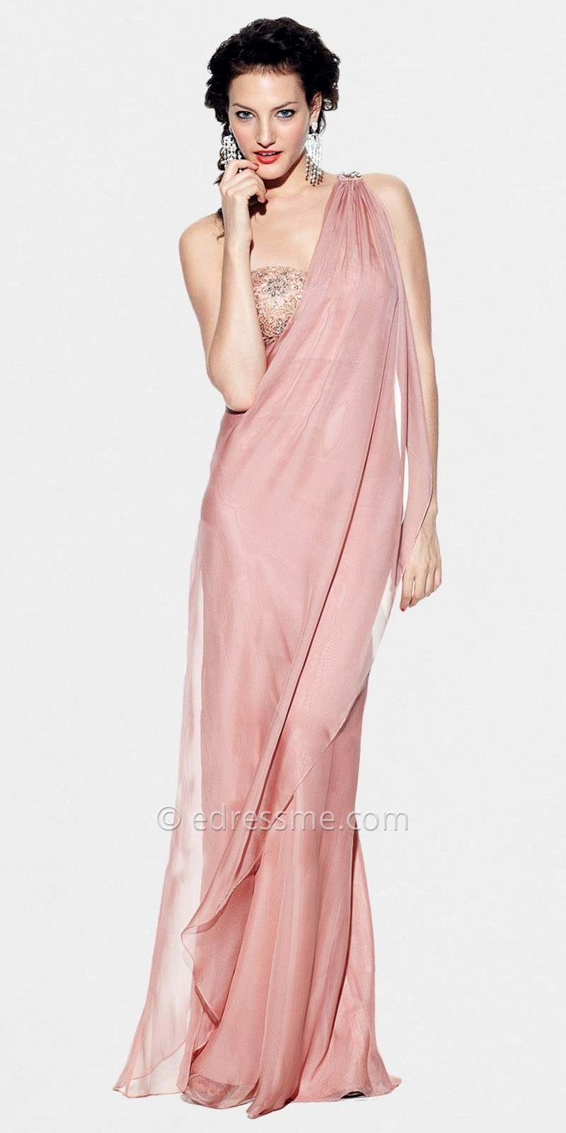Dusty Pink Draped One Shoulder Prom Dresses by LM Collection ...