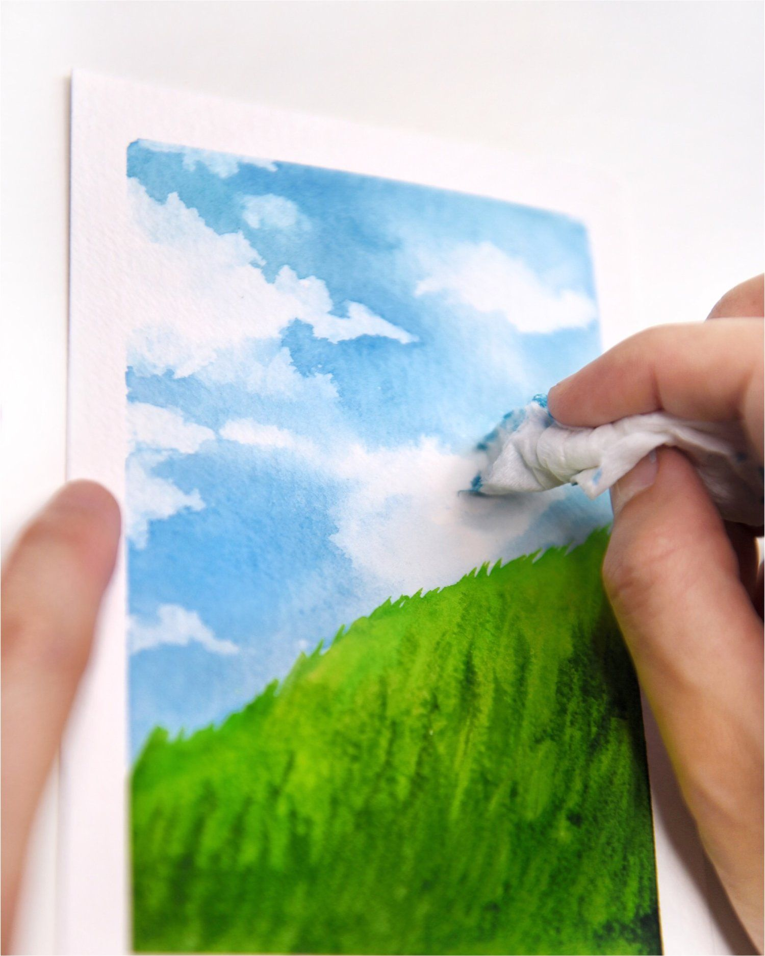 Watercolor Tutorial How To Create Clouds Using Paper Towel