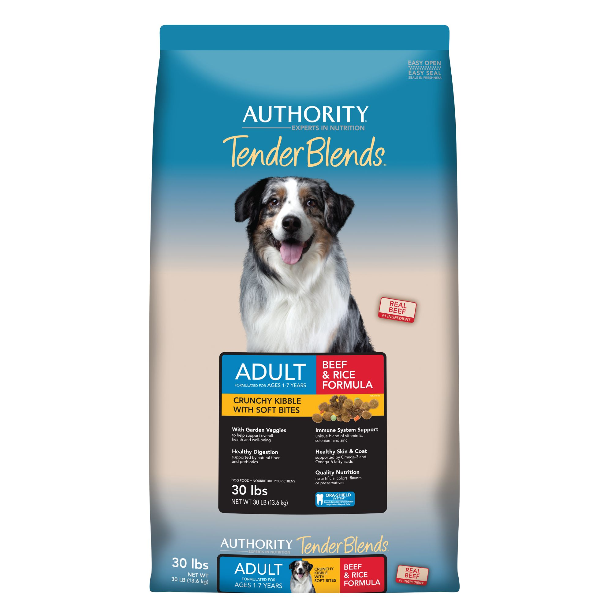 Authority Tender Blends Adult Dog Food Beef And Rice Size 30 Lb Beef Rice Kibble 1 7 Years Deboned Beef Dog Food Recipes Chicken Rice Chicken Recipes