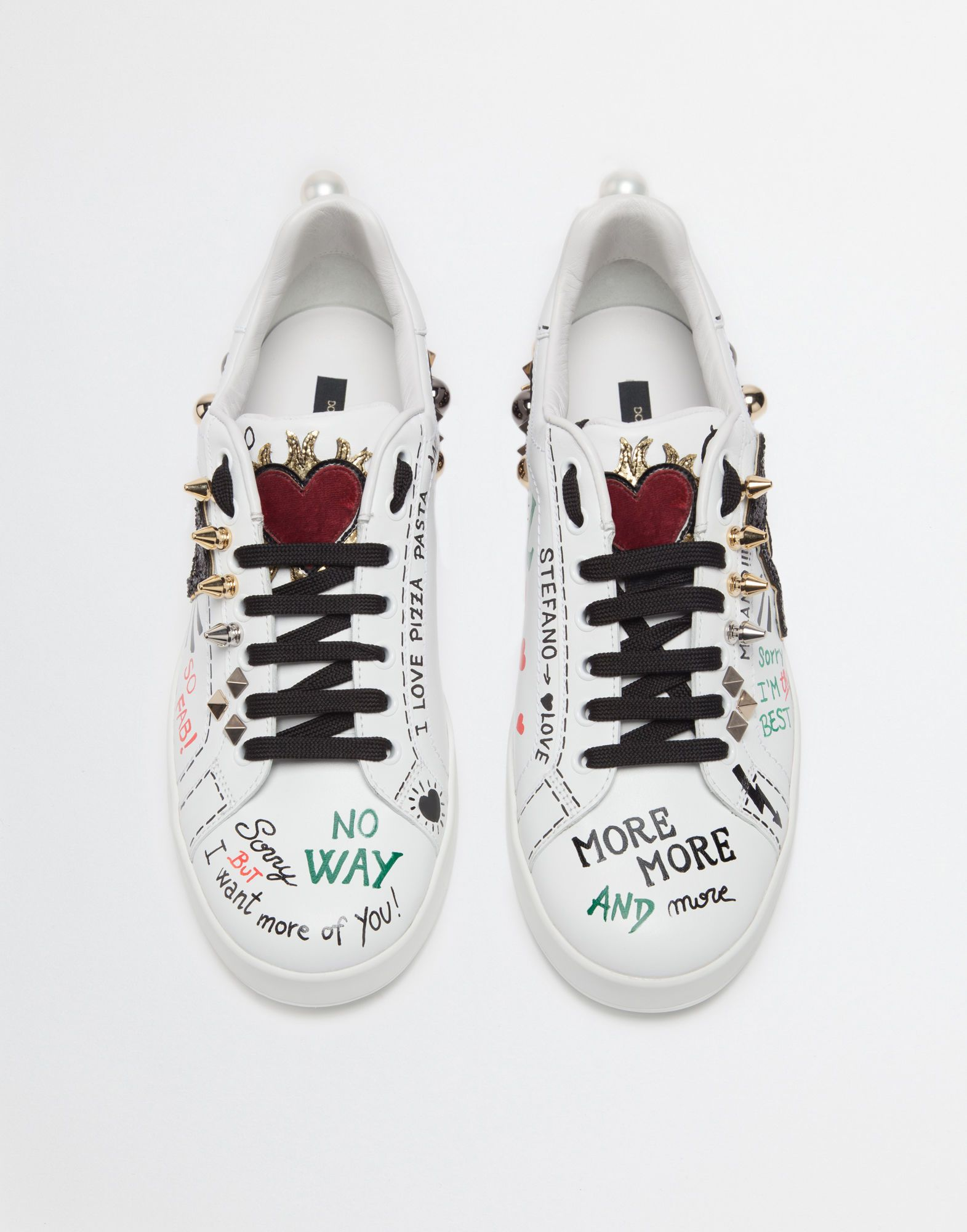 PRINTED LEATHER SNEAKERS WITH APPLIQUÉ   SNEAKERS   Sneakers ... bf47e7a09475