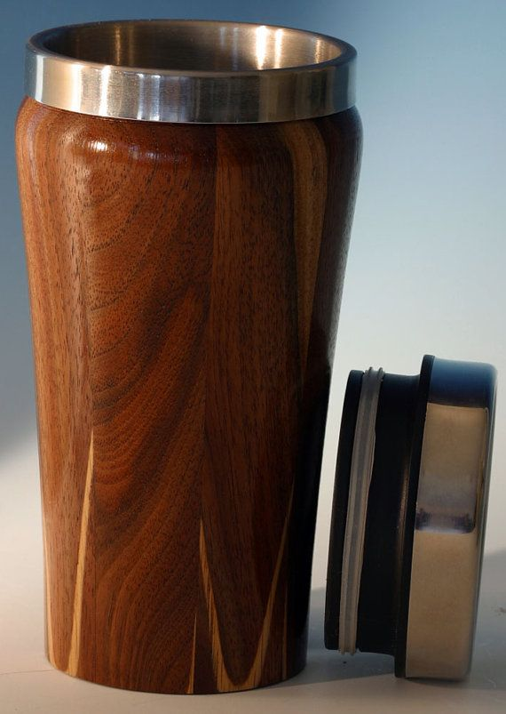 Wooden Travel Mug With Stainless Steel Insert And Sliding