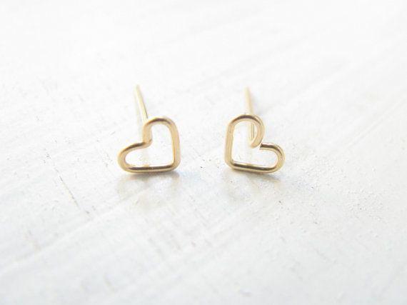 34eebb14626c09 Tiny heart gold earrings, heart stud earrings, small post earrings ...