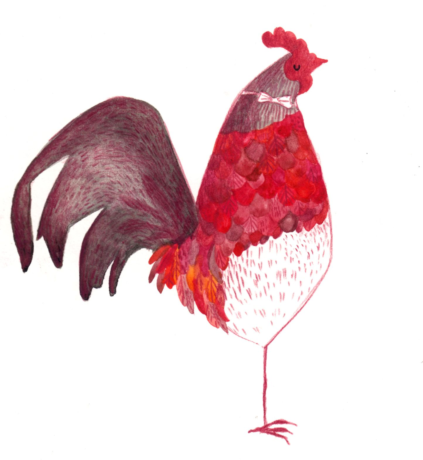 big red rooster designed - 736×799