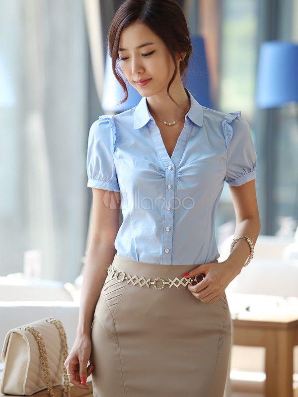 659bc5029d [$24.99] Formal Light Sky Blue Short Sleeves Ruffles Cotton Shirt For Woman