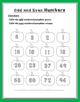Odd and Even Numbers Pumpkin Coloring Page Freebie