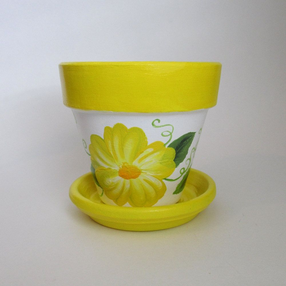 4 Inch Yellow Flower Pot Hand Painted Terra Cotta Planter With