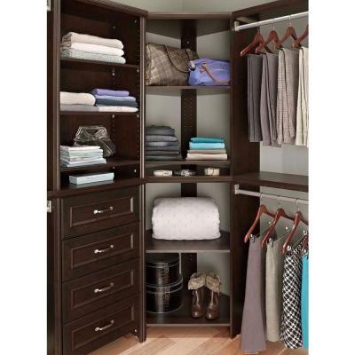 ClosetMaid Impressions 287 In X 411 Chocolate Wood Corner Unit