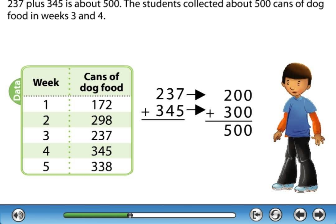Estimating Sums And Differences Tutorial 3rd Grade Math