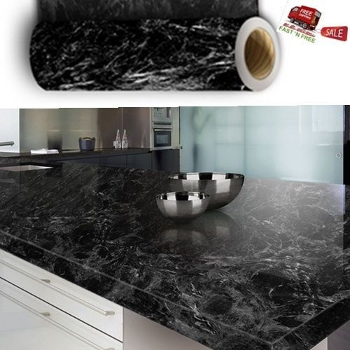 Granite Marble Gloss Film Black Wallpaper Adhesive Roll Wrap Stick