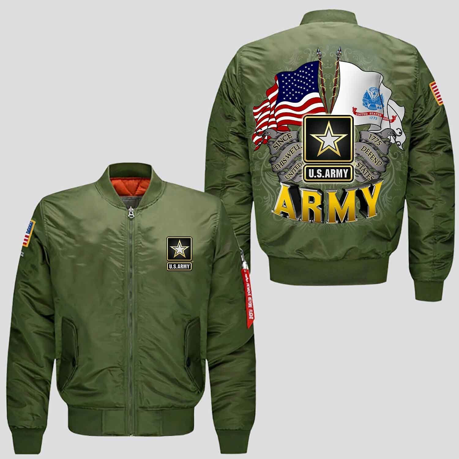 U S Army Since 1775 This We Ll Defend United States V2 0 Over Print Jacket Familyloves Com Us Army Clothing Bomber Jacket Jackets [ 1500 x 1500 Pixel ]