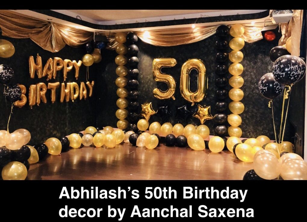 50th Birthday Decor With Black Gold Theme Using Balloon Art By