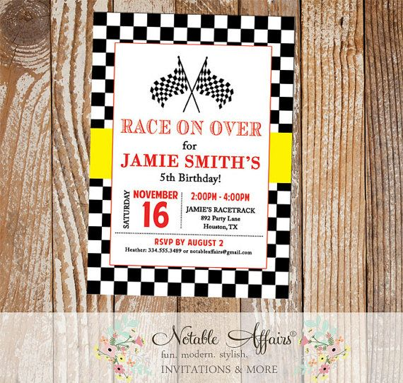 Racecar Black and Yellow Checkered border with red Birthday Party Invitation - Racecar Birthday - Boy Racing Party Invitation - racing party by NotableAffairs