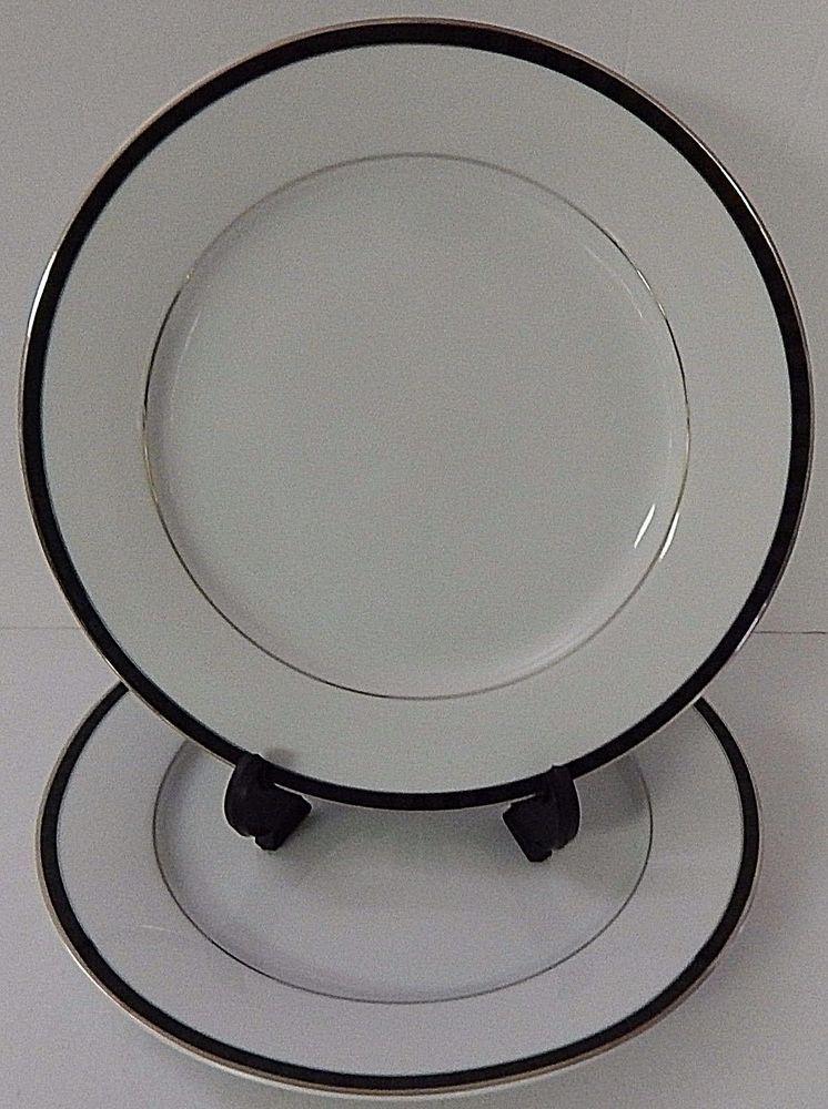 (2) Nikko Fine China BLACK TIE PATRA DINNER PLATES Silver Trim Thailand & 2) Nikko Fine China BLACK TIE PATRA DINNER PLATES Silver Trim ...
