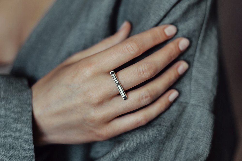 Image Of Light Plain Silver Ring With Inscription In Latin Hic Et Nunc Here And Now W H I S H L I S T Silver Rings Rings Silver