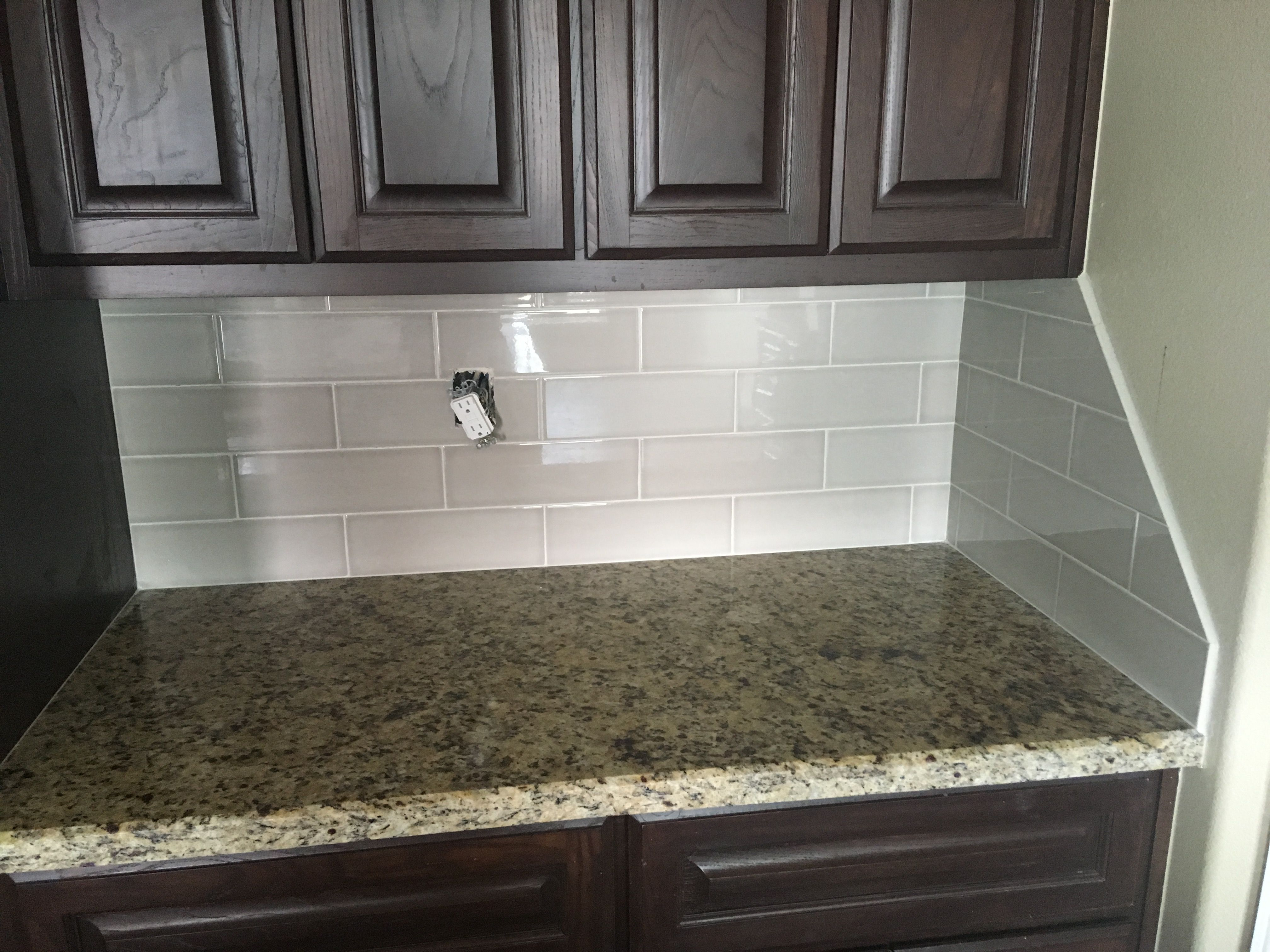 - Angled Backsplash At The End Of The Wall. Allen & Roth Large