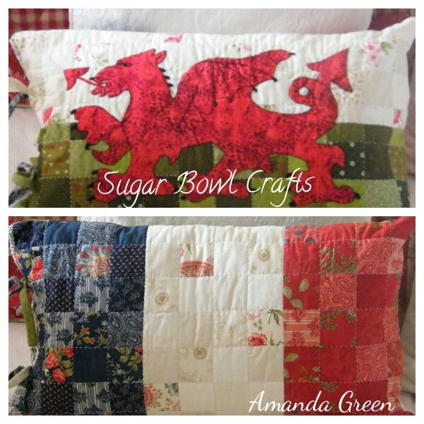 Welsh/French flag cushion - made as a wedding gift