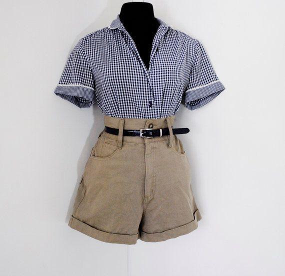High Waisted Shorts Vintage Khaki Express Jeans Cuffed Leg Extra ...