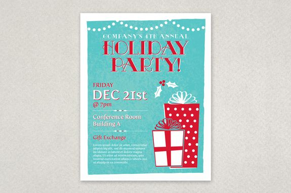 Classic Holiday Party Flyer Template - Planning an office Holiday - holiday party flyer template