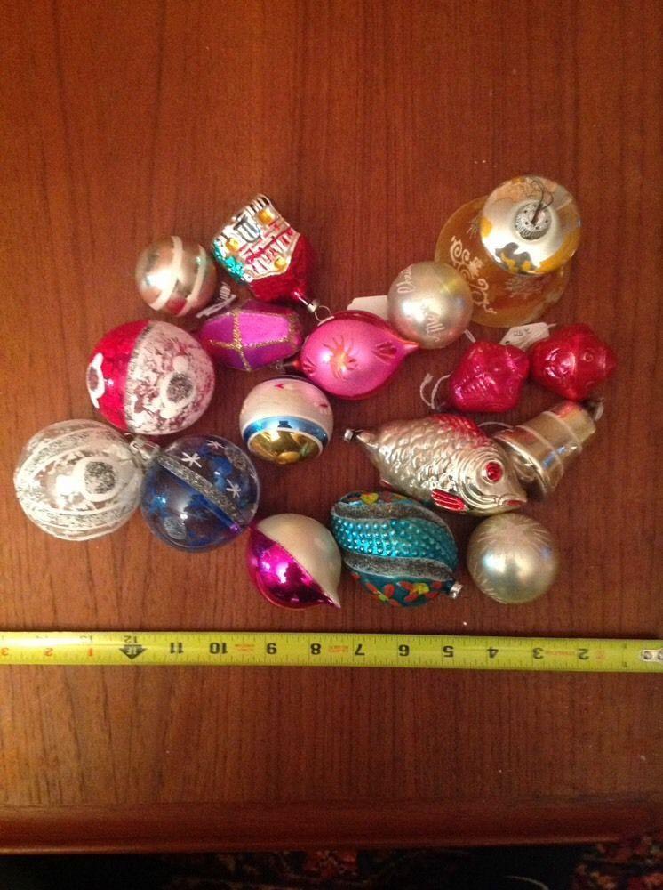 Lot Of Vintage Glass Christmas Ornaments Poland Austria Japan