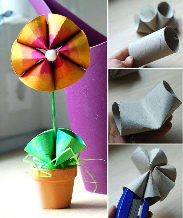 Flower made from toilet rolls krativ pinterest toilet flower flower made from toilet rolls mightylinksfo