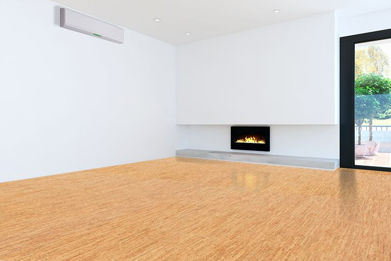 Thick Cork Tiles 8mm Forna Silver Birch Bamboo Looking Cork Floor Interior Design In Specious Living R Floor Design Cork Flooring Living Room With Fireplace