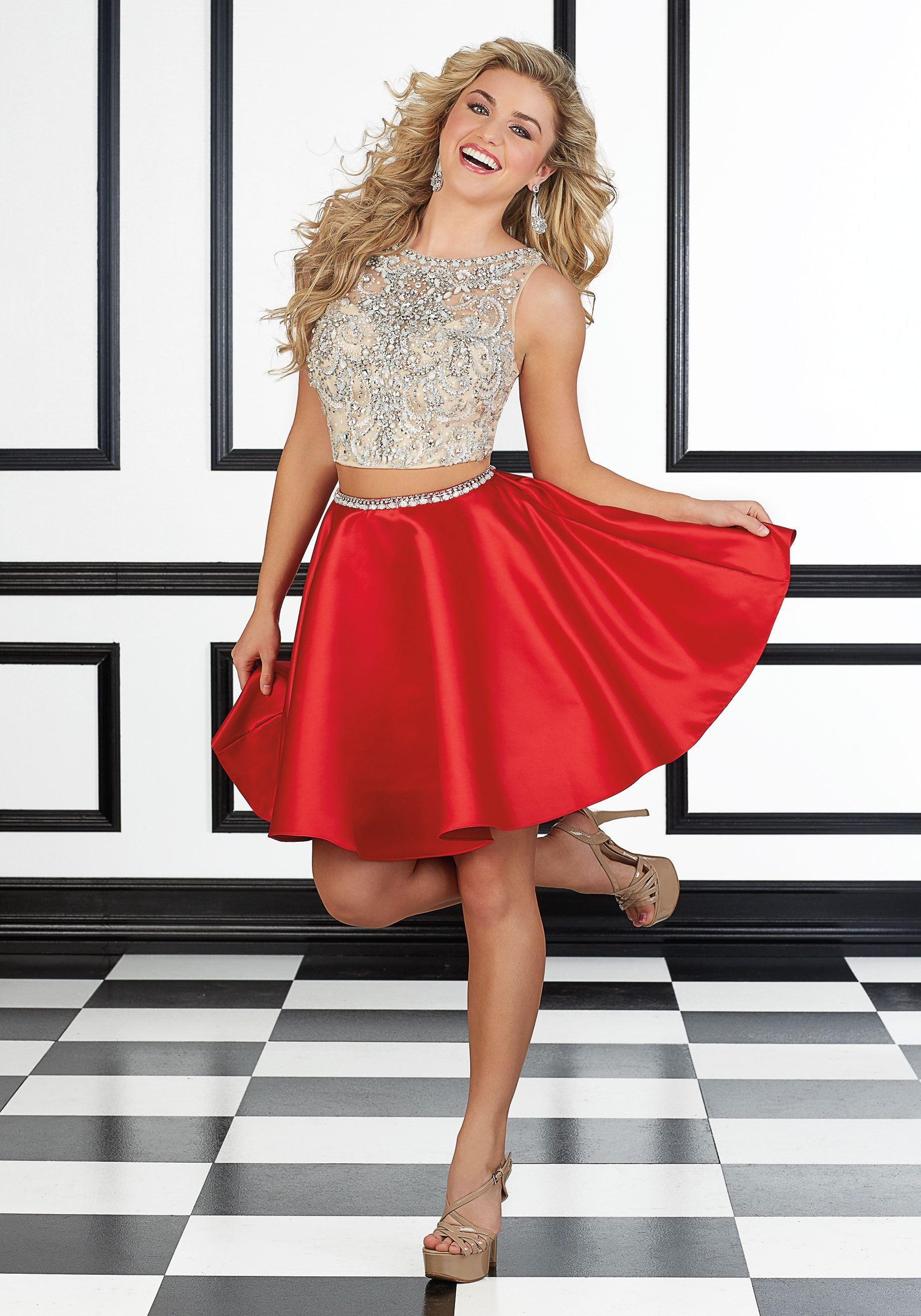 Party and Prom Dresses by Morilee. Two Piece Beaded Net and Satin Prom Dress b3ea8d726