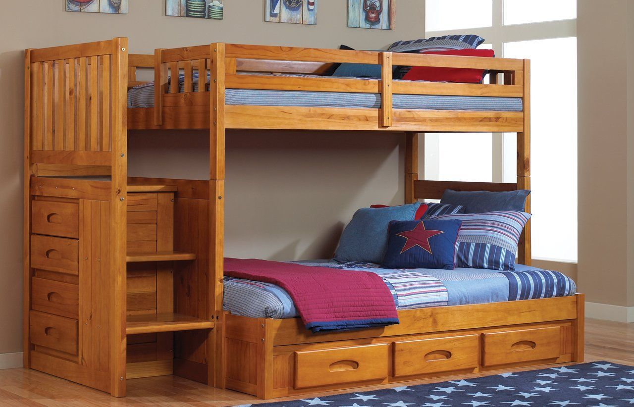 Twin over full loft bed with stairs  Amazon Mission Twin Over Full Staircase Bunk Bed with  Drawers