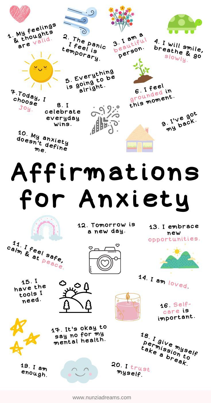 20 Calming Positive Affirmations for Anxiety + Printables! | NunziaDreams