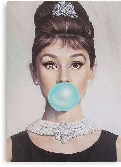 'AUDREY BLOWING BLUE BUBBLE GUM' Canvas Print by ArtbyCPolidano