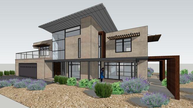 Modern Desert House With Landscape House Exterior Desert Homes Bungalow Design