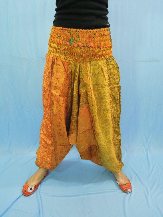 Vintage Silk Sari Harem Comfy Pants  Hippie Baggy by Labhanshi, $25.00