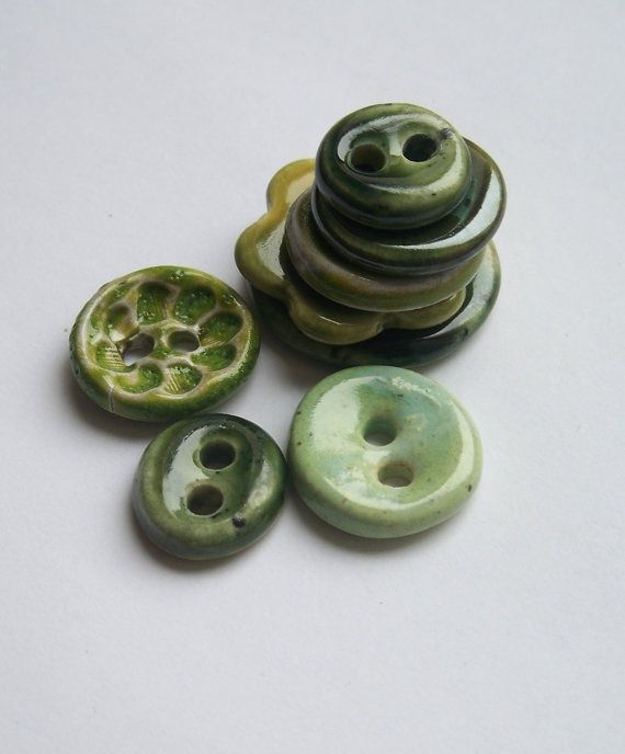 pinterest ceramics | Green Selection of Ceramic Buttons by buttonalia on Etsy, $21.00