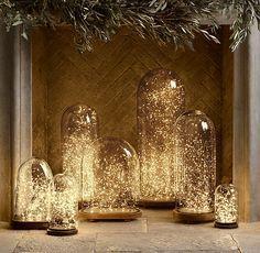 Domos de tortas decorados con extensiones de luces por dentro, genial. #DecoracionNavidad