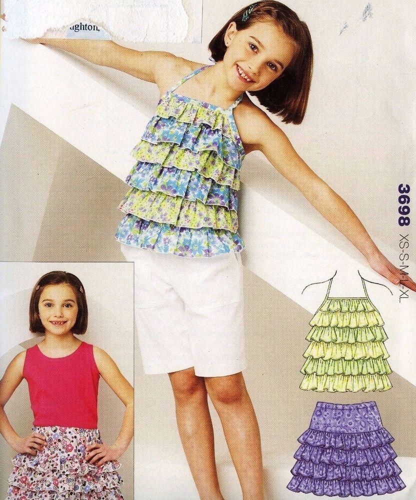 Kwik Sew Pattern Girl\'s Ruffled Top and Skirt Sz. XS - XL Sealed ...