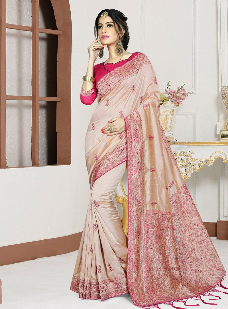 4a2d30e43d Buy Beige Silk Saree With Blouse 147572 with blouse online at lowest price  from vast collection