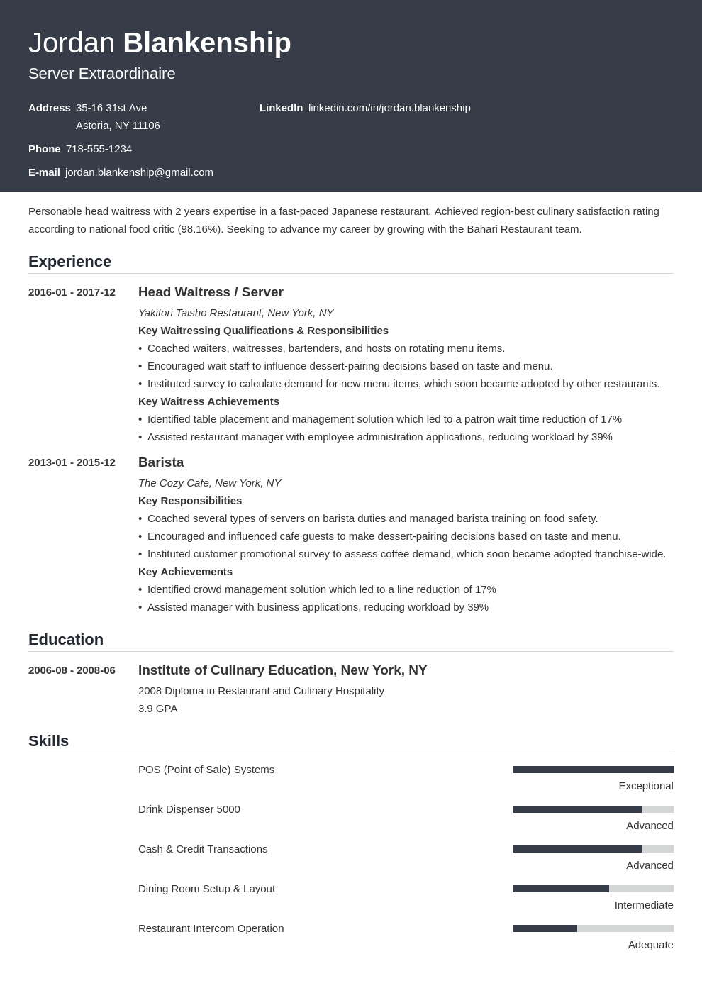 food service resume example template influx in 2020