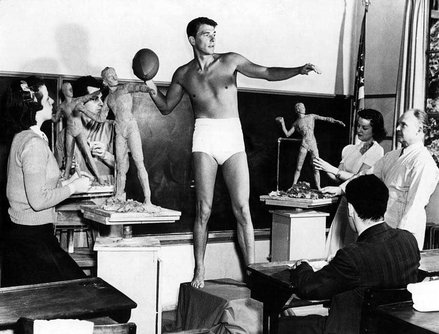 "Ronald Reagan poses for a sculpture class at USC as an example of ""ideal male physique"", 1940"