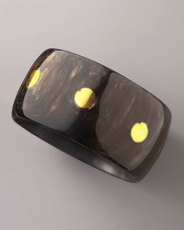 Y0SJ0 Ashley Pittman Asili Bronze-Inlay Horn Bangle NM315