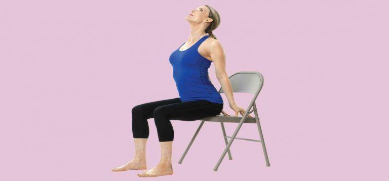 7 Yoga Poses You Can Do At Your Desk Anytime Chair Yoga Chair Pose Yoga Yoga Poses