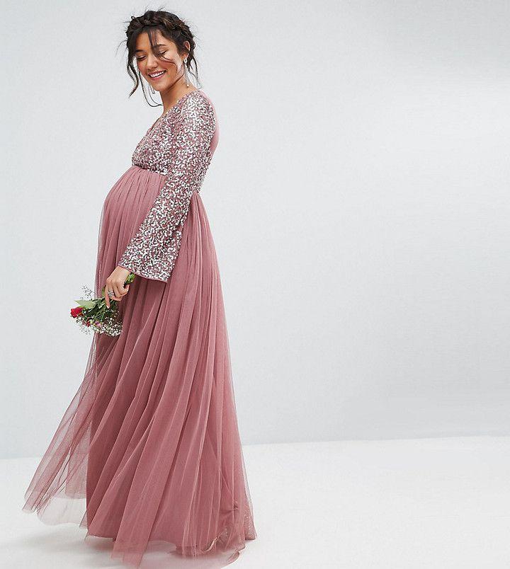 201101955fc34 Maya Maternity Long Sleeve V Neck Maxi Dress With Tonal Delicate Sequins
