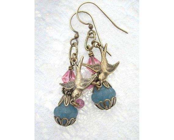 Gathering Sweets - Brass Sparrow Earrings