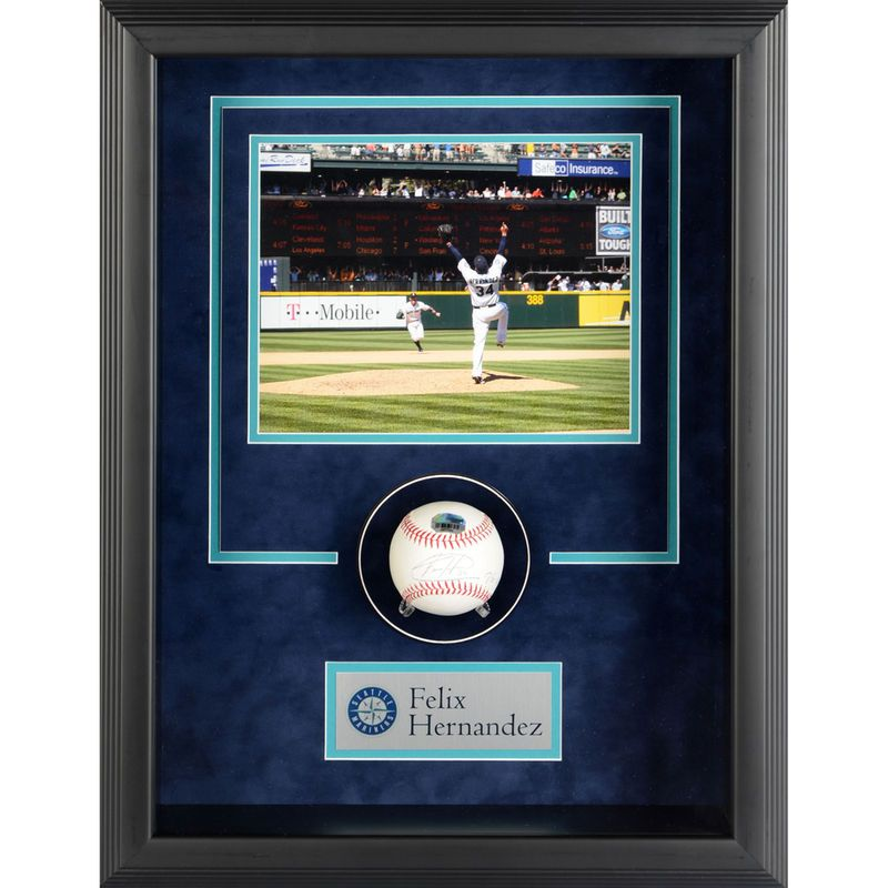 Felix Hernandez Seattle Mariners Fanatics Authentic Framed Autographed Baseball Shadowbox with PG 8-15-12 Inscription
