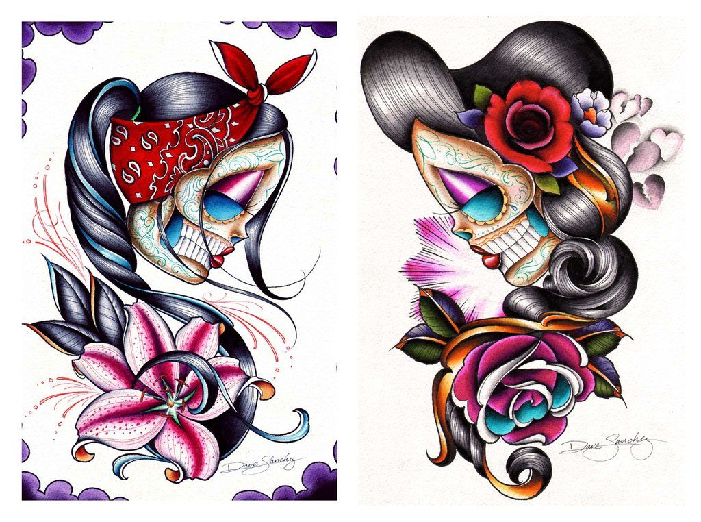 Rosie Y Que by Dave Sanchez Tattoo Art Print Day of the Dead Sugar Skull