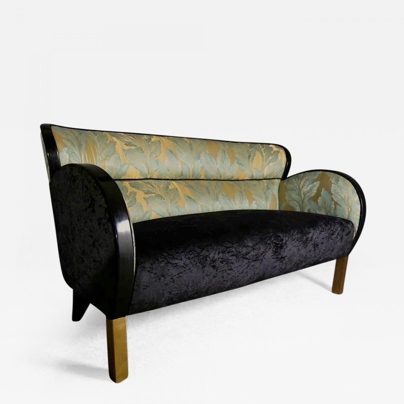 1920s Italian Art Deco Sofa With Damask Velvet Fabric Art Deco
